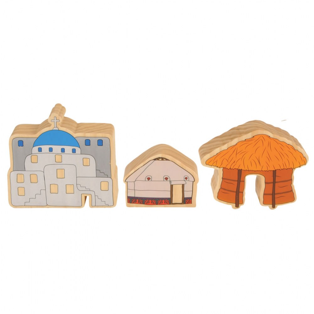 Alternate Image #4 of Homes Around the World Wooden Blocks - Set of 15