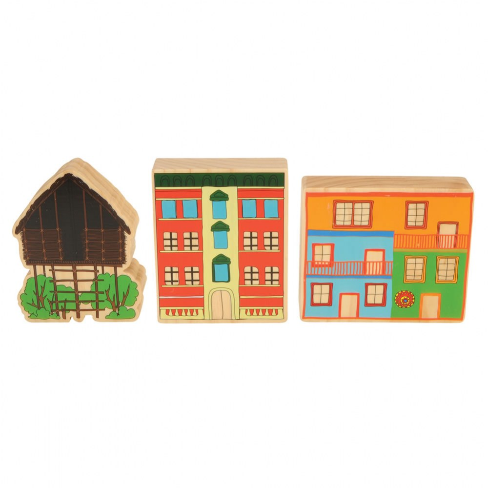 Alternate Image #6 of Homes Around the World Wooden Blocks - Set of 15