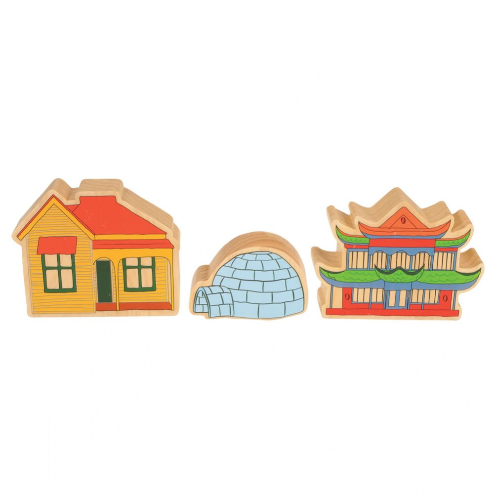 Alternate Image #7 of Homes Around the World Wooden Blocks - Set of 15