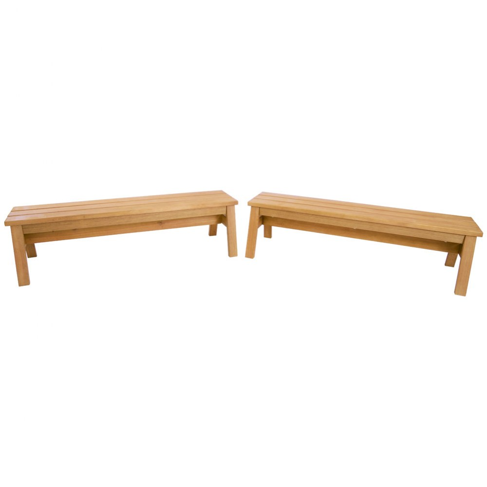 Alternate Image #1 of Outdoor Wooden Stacking Benches - Set of 2