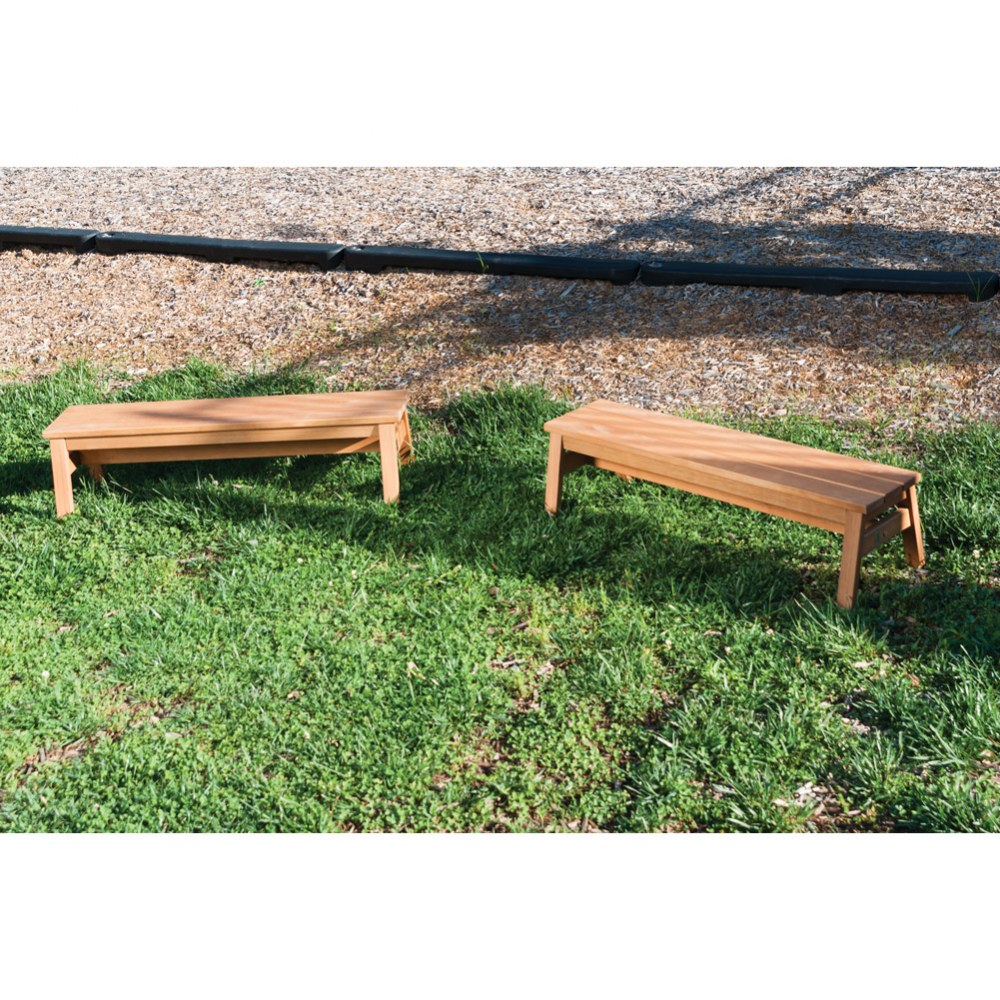 Alternate Image #2 of Outdoor Wooden Stacking Benches - Set of 2