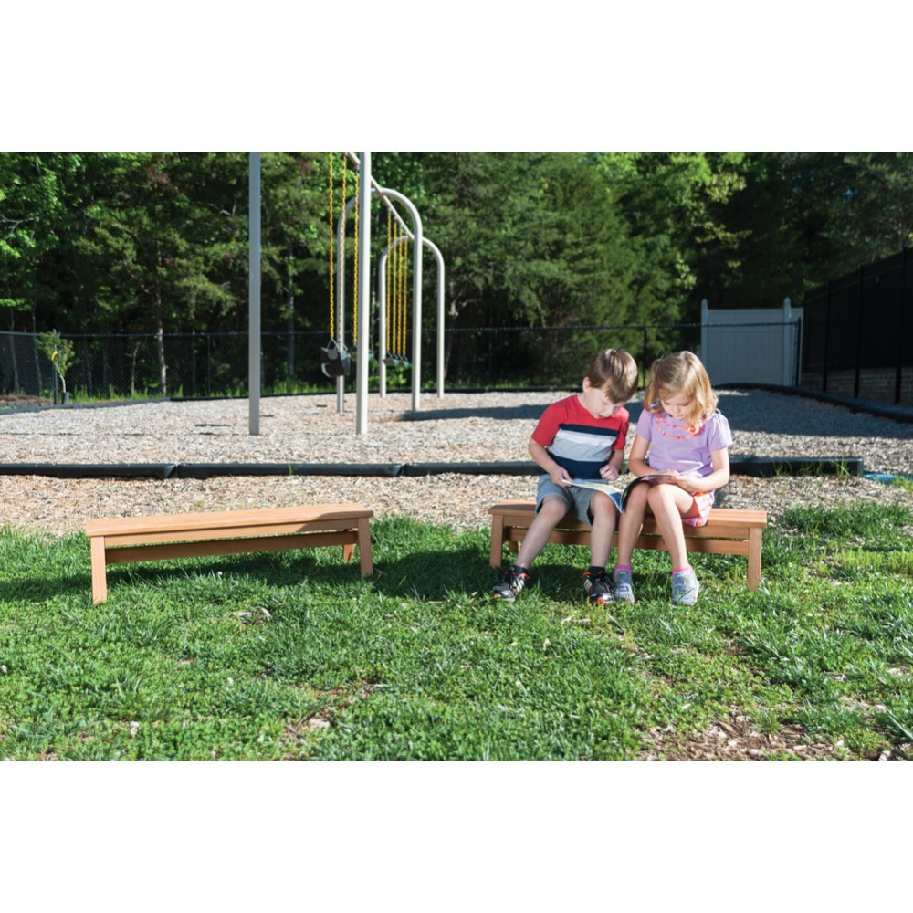 Alternate Image #3 of Outdoor Wooden Stacking Benches - Set of 2