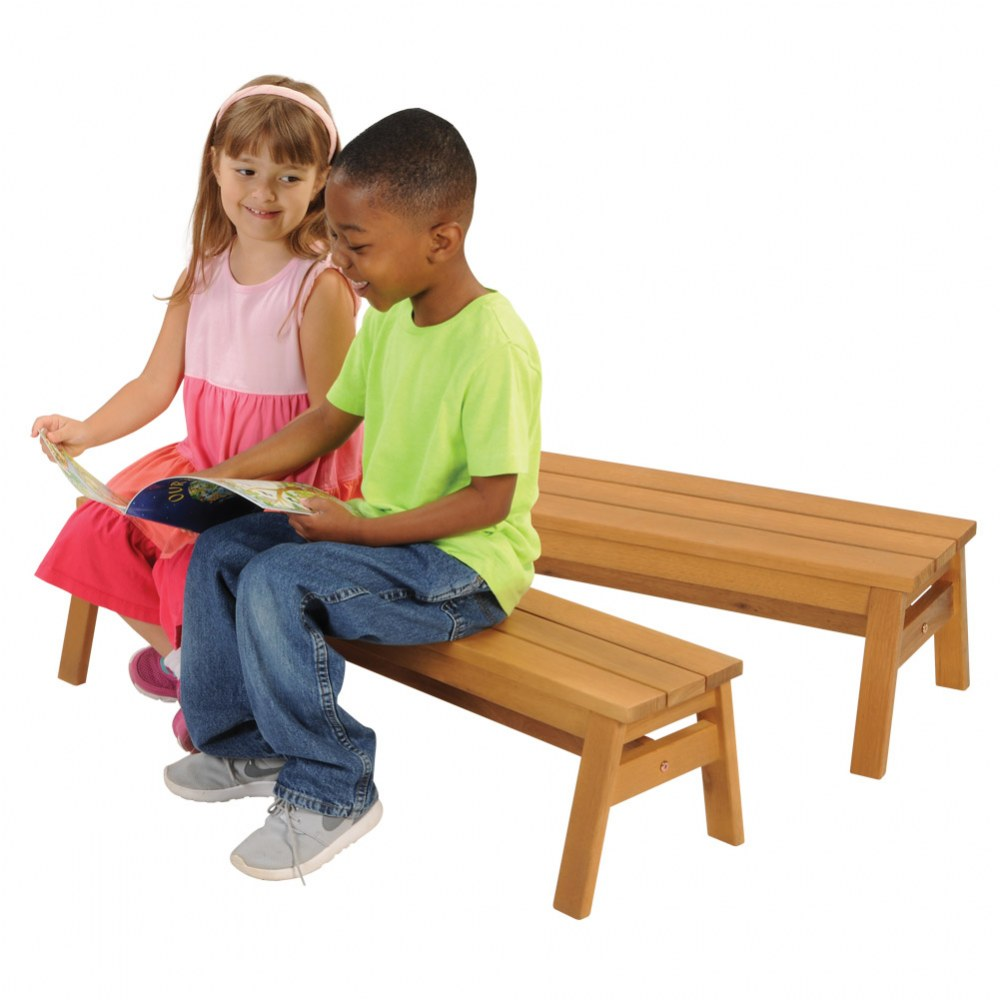 Alternate Image #4 of Outdoor Wooden Stacking Benches - Set of 2