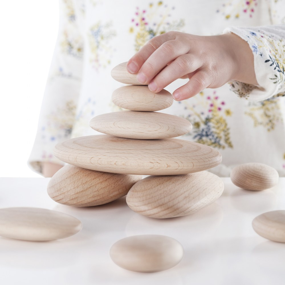 Alternate Image #1 of Wood Stackers: River Stones - Set of 20