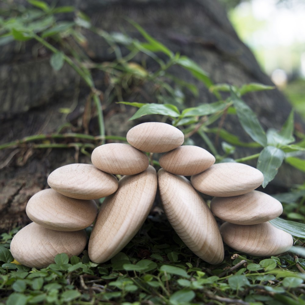 Alternate Image #5 of Wood Stackers: River Stones - Set of 20