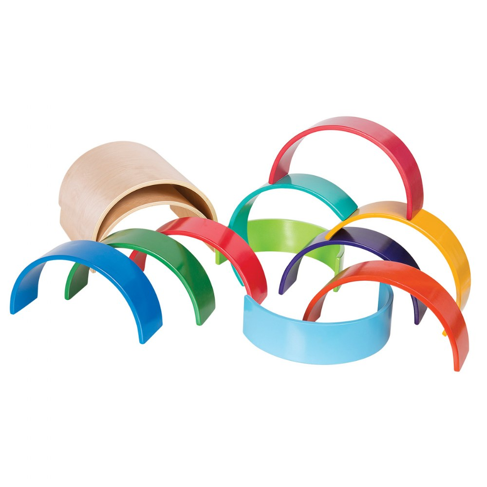 Colorful Wooden Rainbow Arches and Tunnels - Set of 12