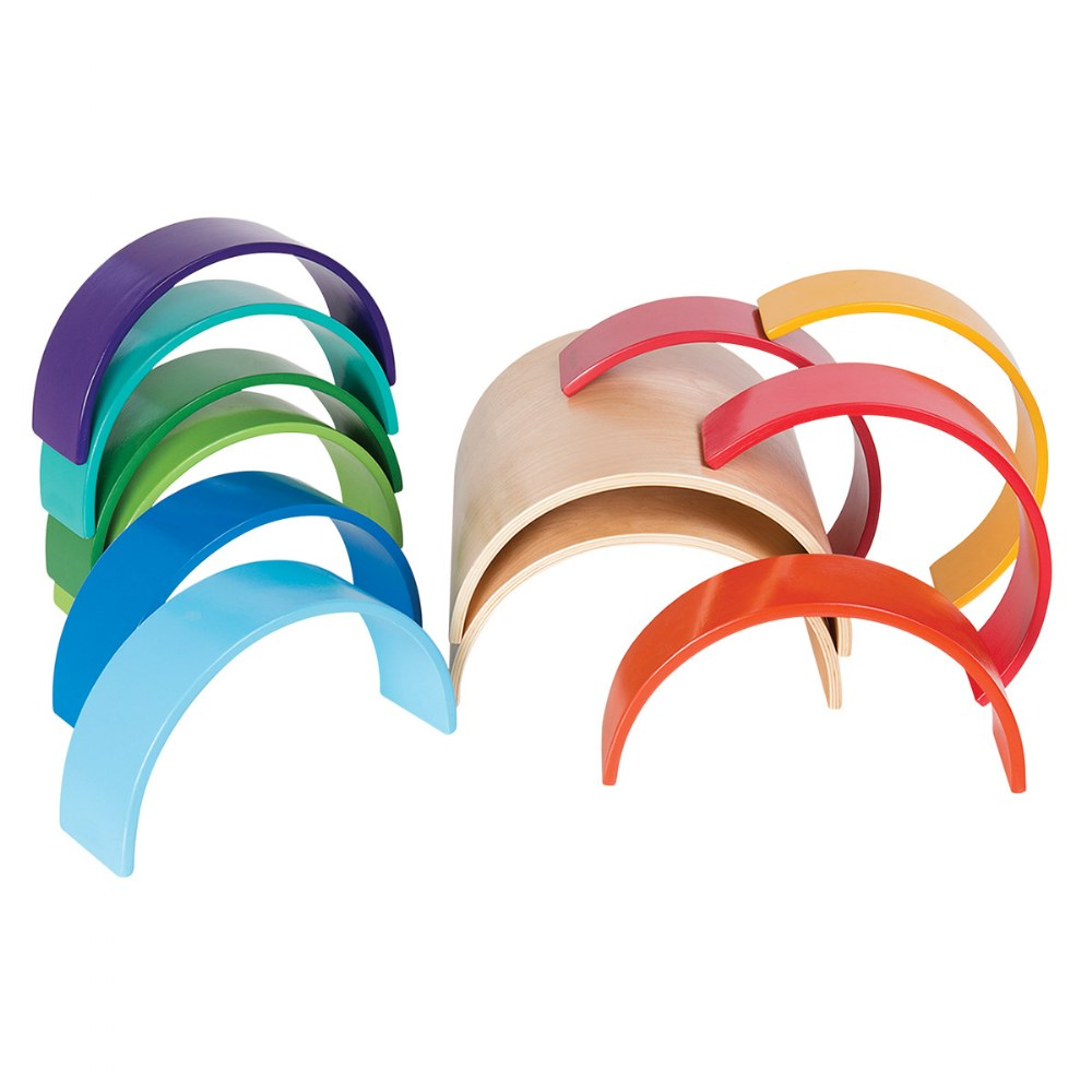 Alternate Image #2 of Colorful Wooden Rainbow Arches and Tunnels - Set of 12