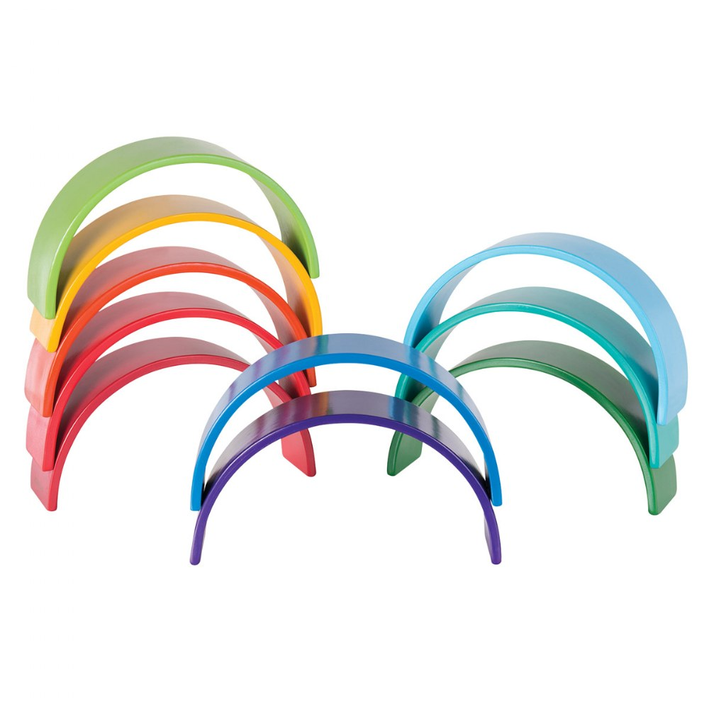 Alternate Image #4 of Colorful Wooden Rainbow Arches and Tunnels - Set of 12