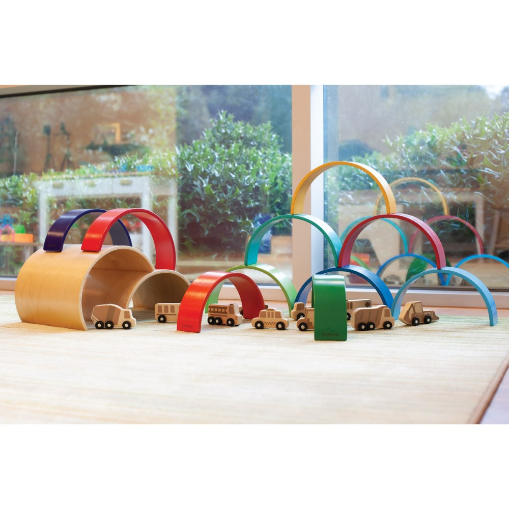 Alternate Image #5 of Colorful Wooden Rainbow Arches and Tunnels - Set of 12