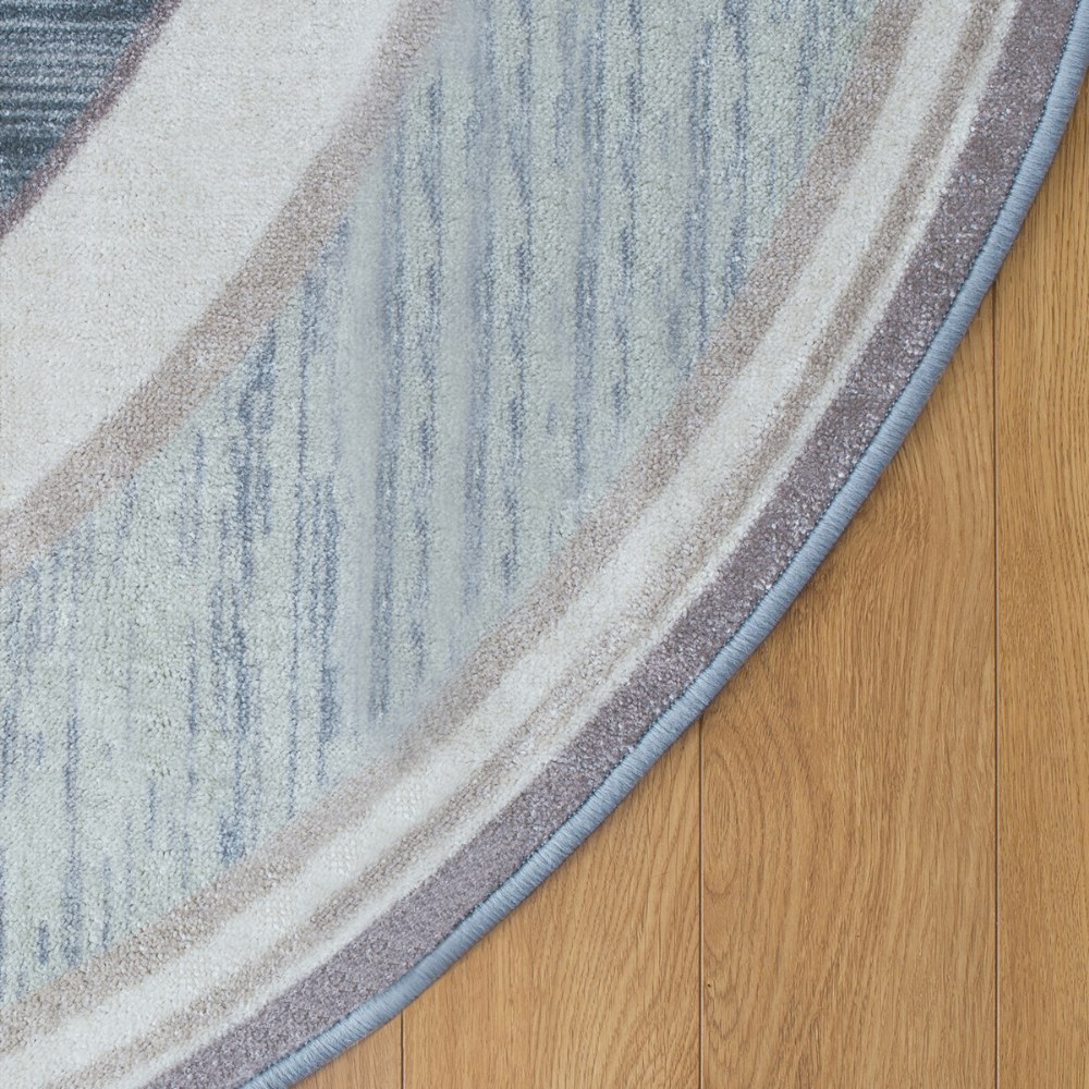 Alternate Image #1 of Sense of Place Highland Stripe Blue Oval Carpet - 6' X 9'