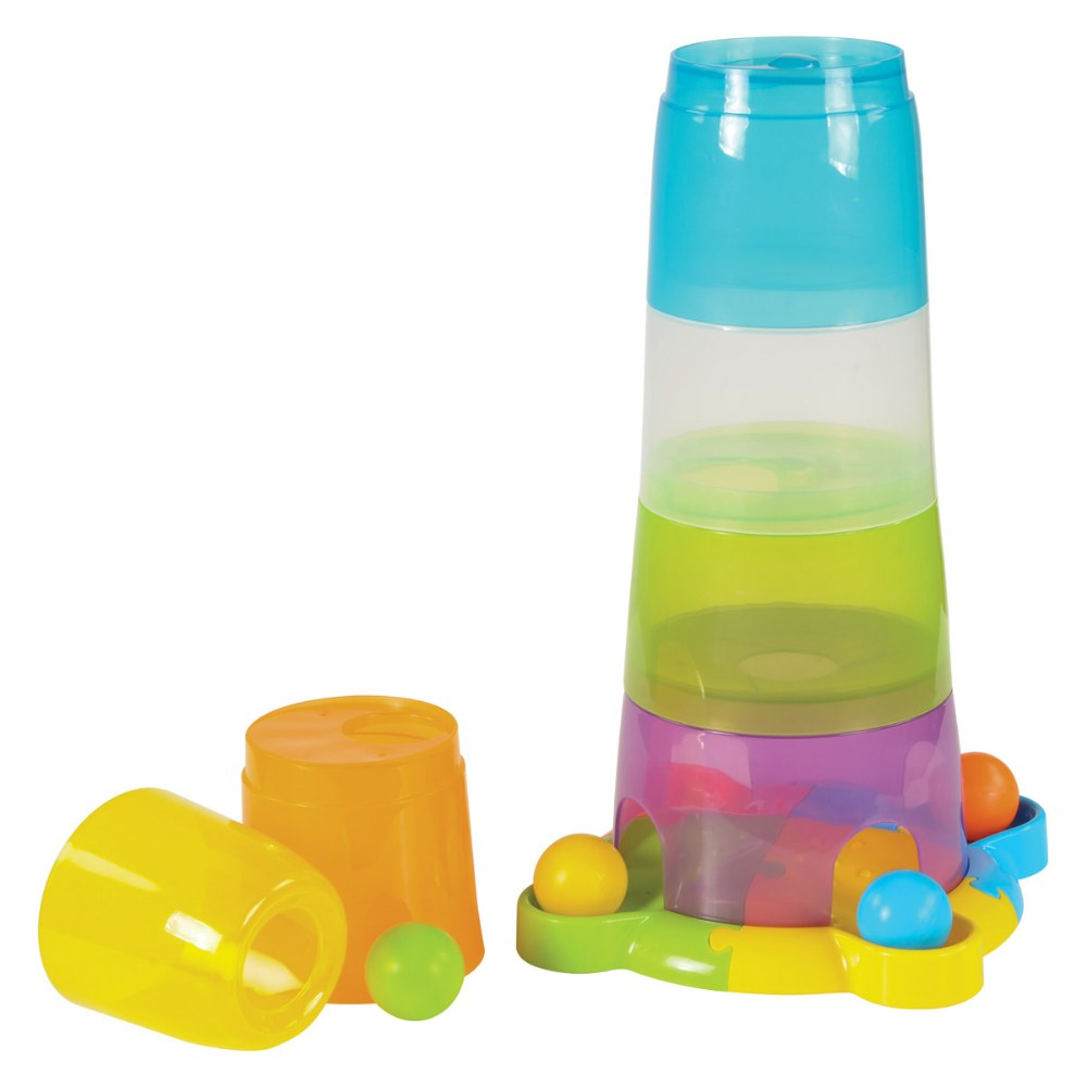 Alternate Image #1 of Toddler Stack and Ball Drop Colorful Transparent Tower