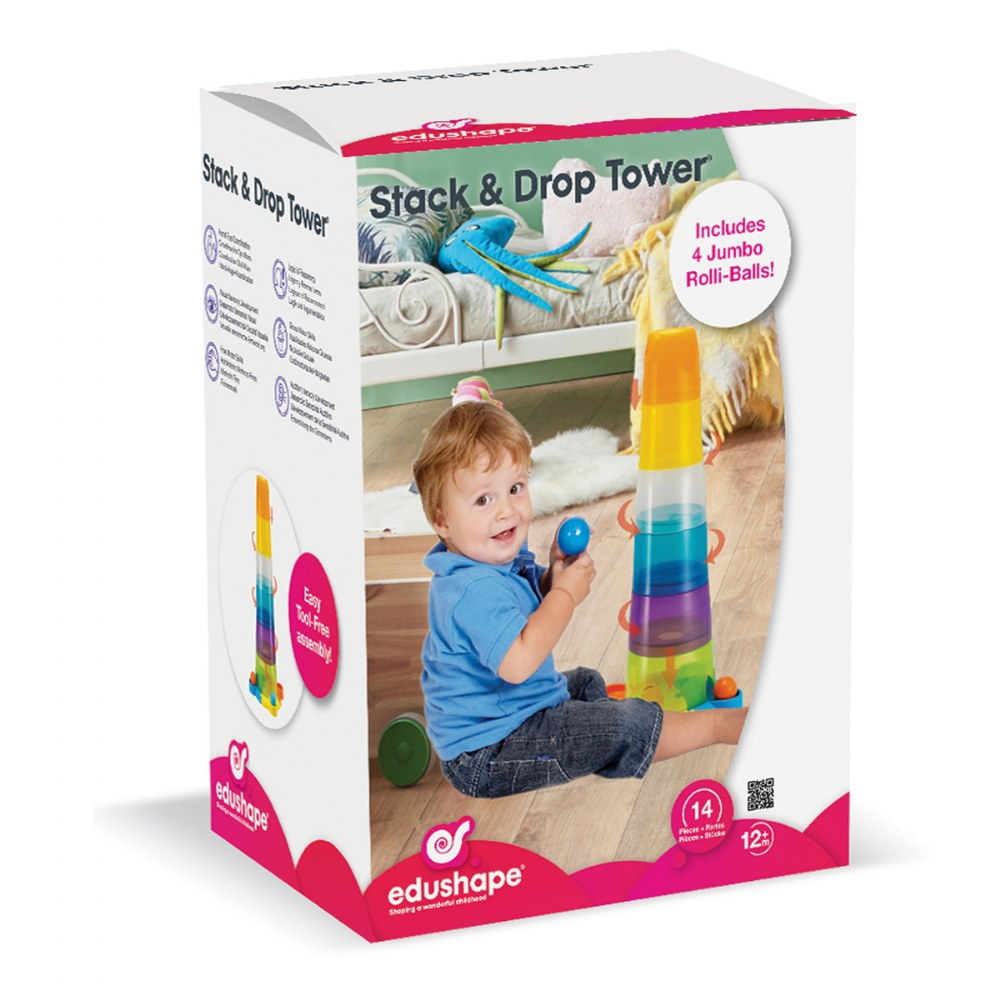 Alternate Image #4 of Toddler Stack and Ball Drop Colorful Transparent Tower