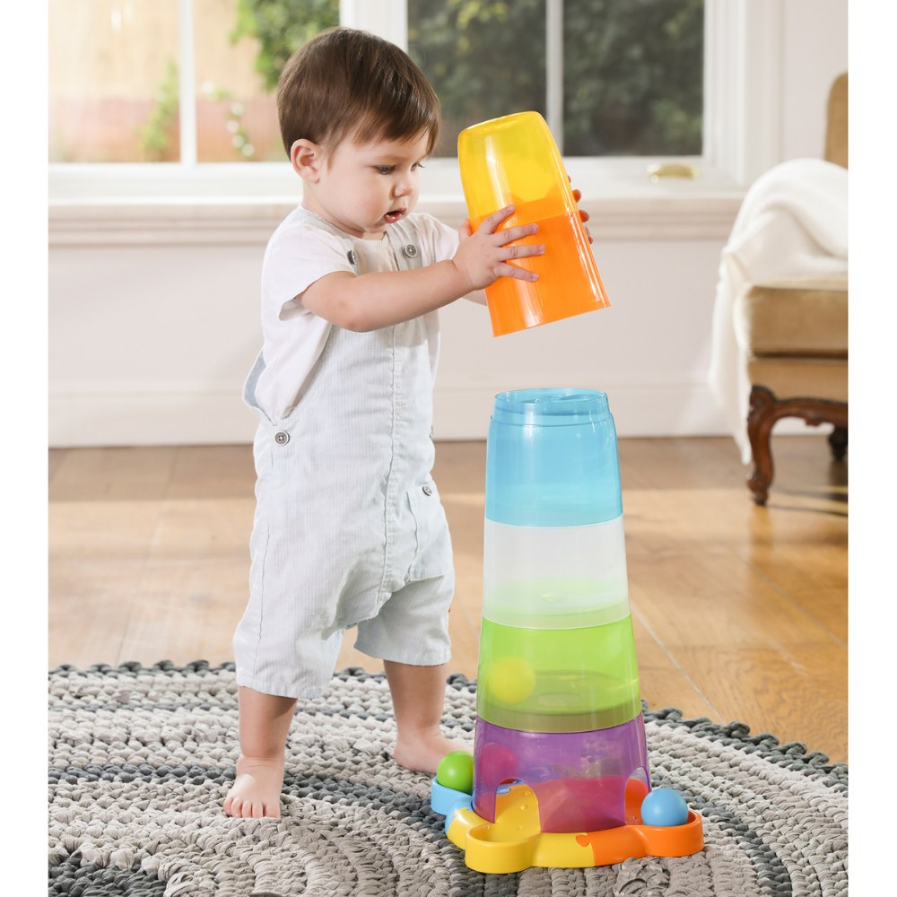 Alternate Image #3 of Toddler Stack and Ball Drop Colorful Transparent Tower