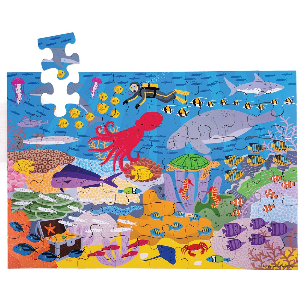 Alternate Image #1 of Wooden Floor Puzzles - Ocean, Dollhouse, Farm and Construction