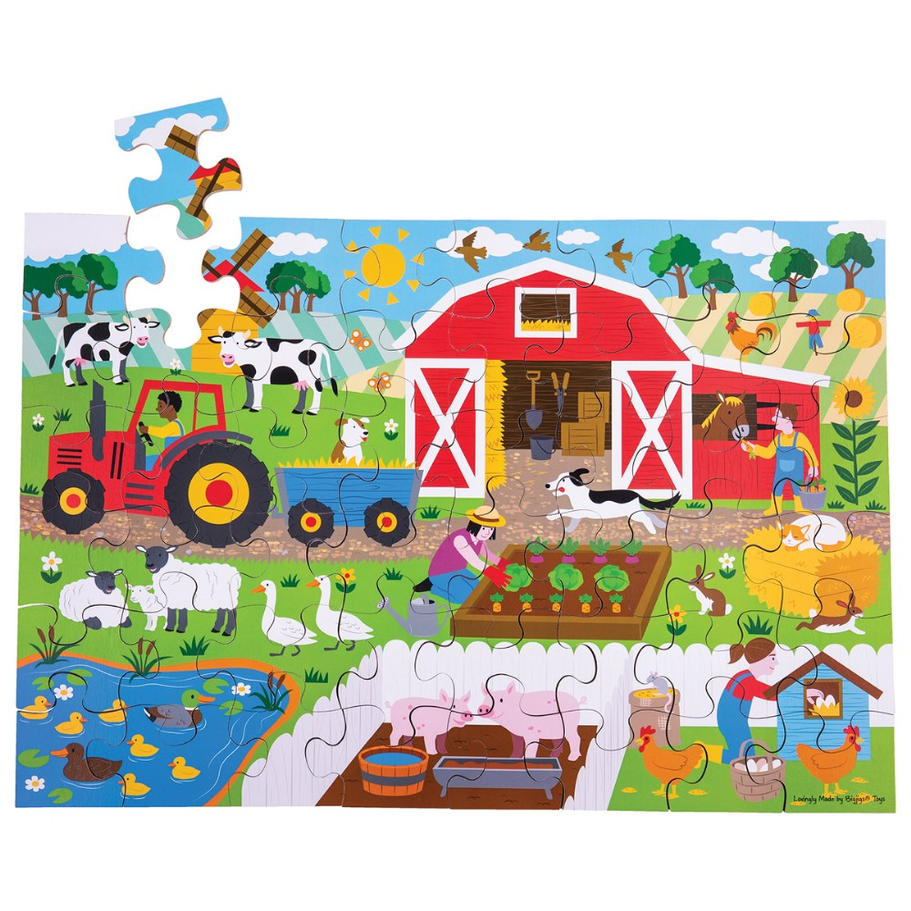 Alternate Image #3 of Wooden Floor Puzzles - Ocean, Dollhouse, Farm and Construction