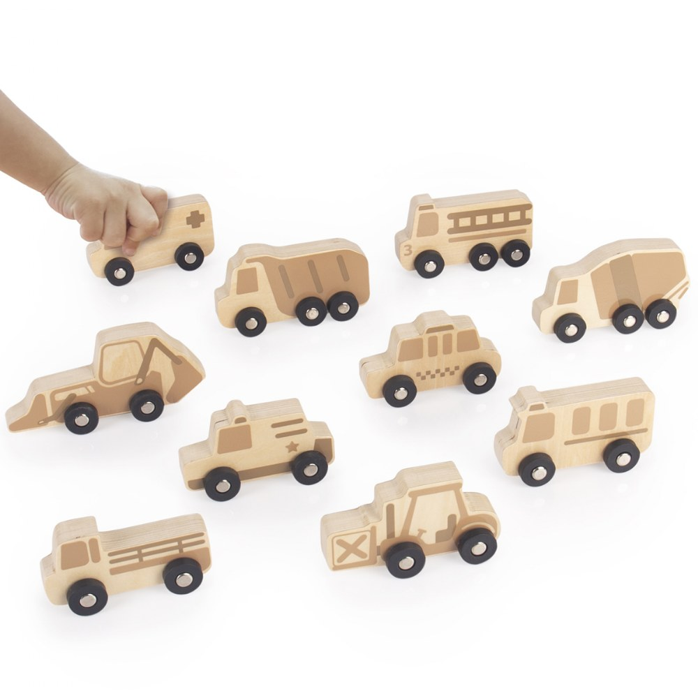 Alternate Image #1 of Mini Wooden Trucks - Set of 10