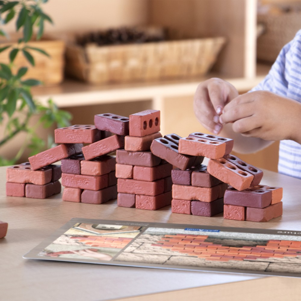 Alternate Image #3 of Little Bricks Builders Set for Construction and Stacking with Concept Cards - 60 Piece Set
