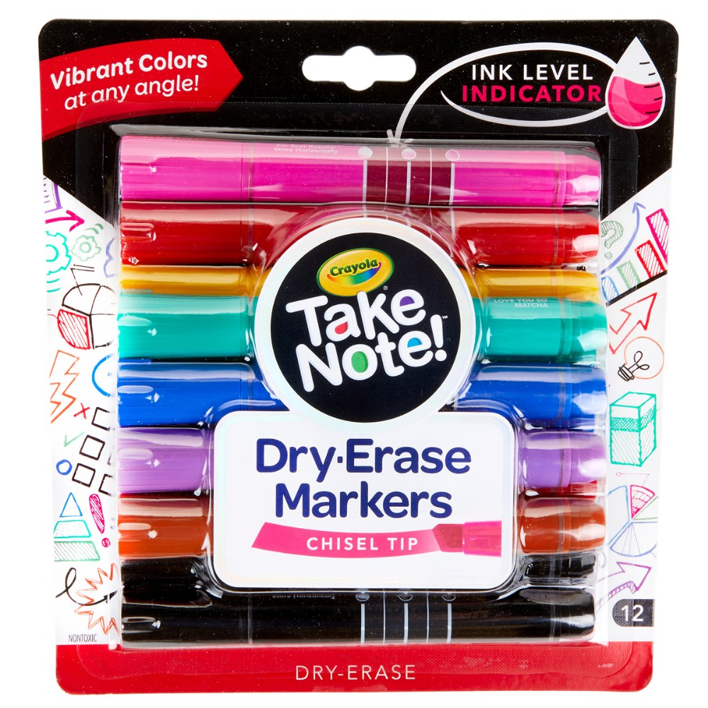Alternate Image #2 of Crayola® Take Note!™ Chisel Tip Dry-Erase Markers - Set of 12