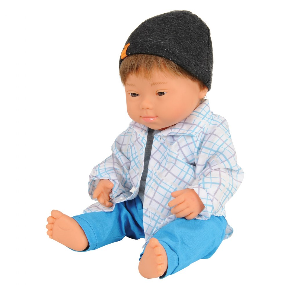 "Doll with Down Syndrome 15""  - Caucasian Boy with Outfit"