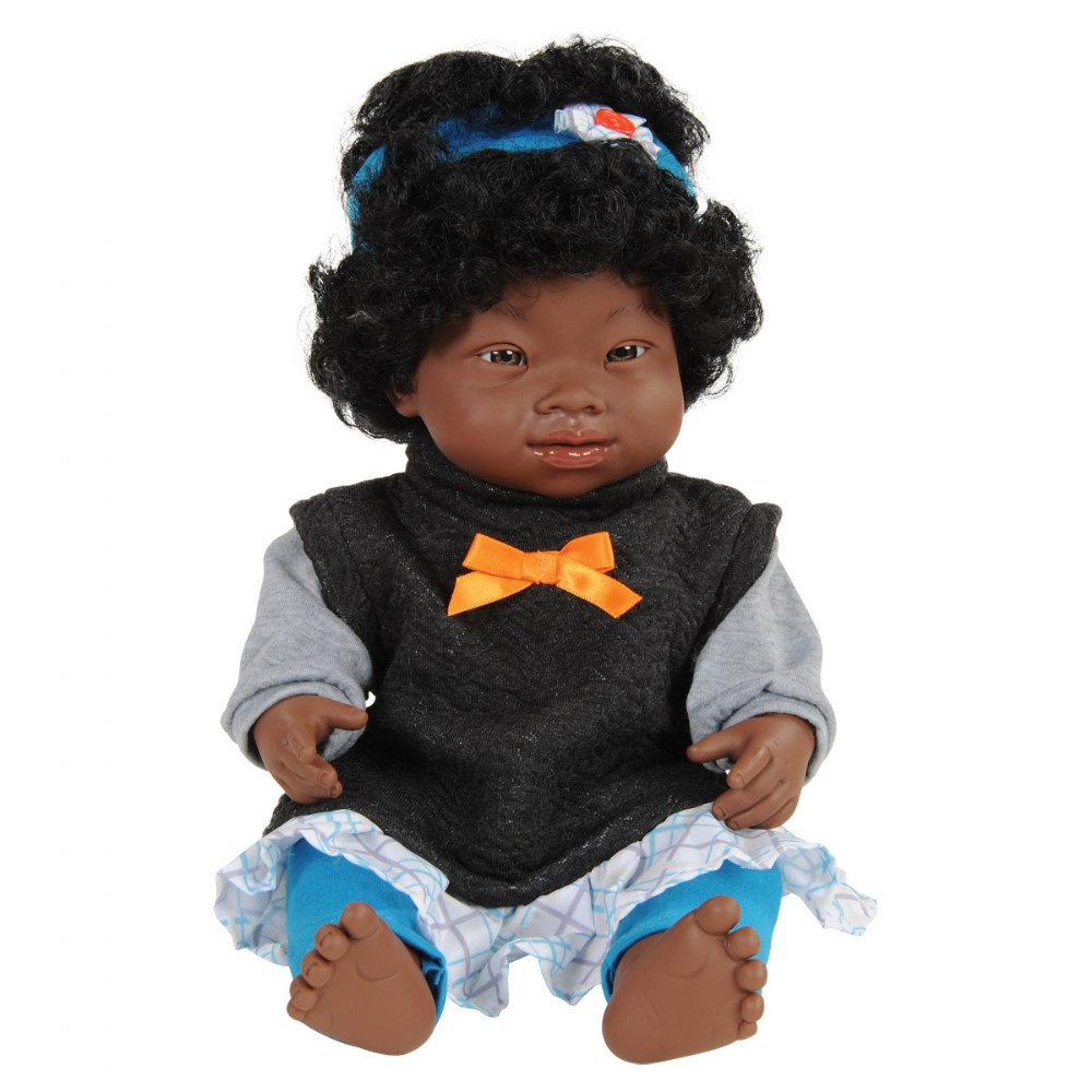 "Alternate Image #1 of Doll with Down Syndrome 15"" - African Girl with Outfit"