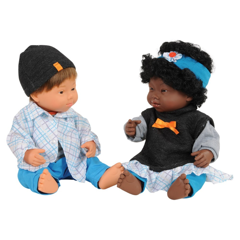 "Dolls with Down Syndrome 15"" - Caucasian Boy and African Girl"