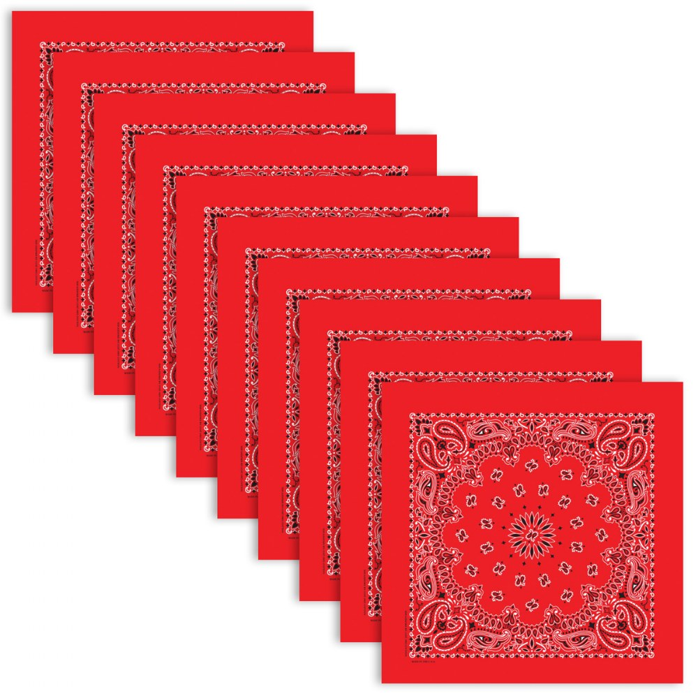 Red Bandana - Set of 10