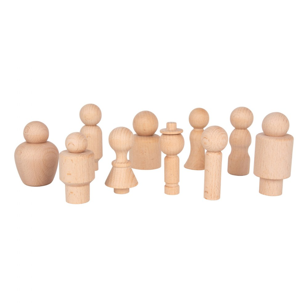 Natural Wood Figures - 10 Pieces