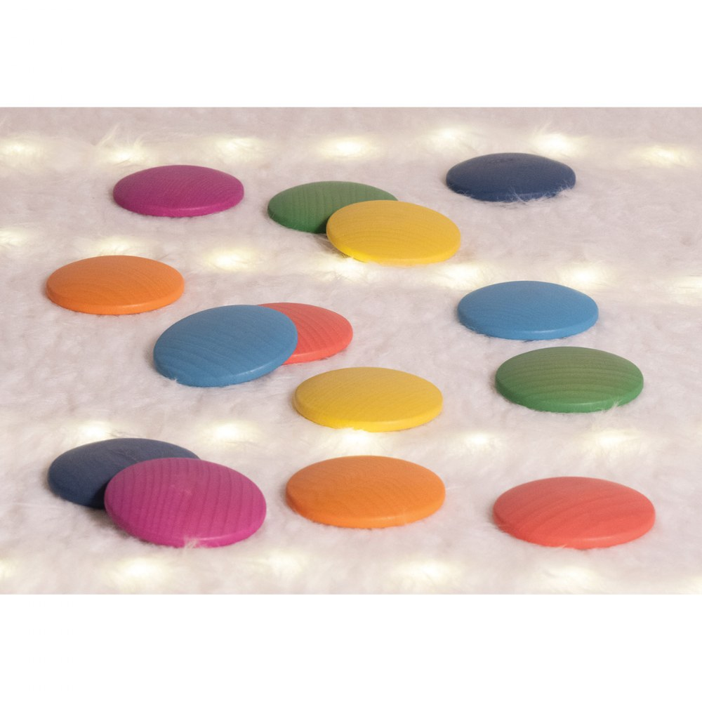 Alternate Image #4 of Rainbow Wood Loose Discs - 14 Pieces