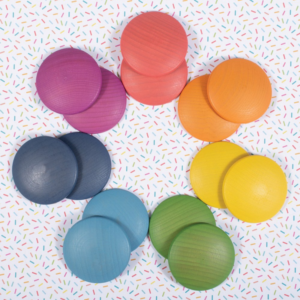 Alternate Image #7 of Rainbow Wood Loose Discs - 14 Pieces