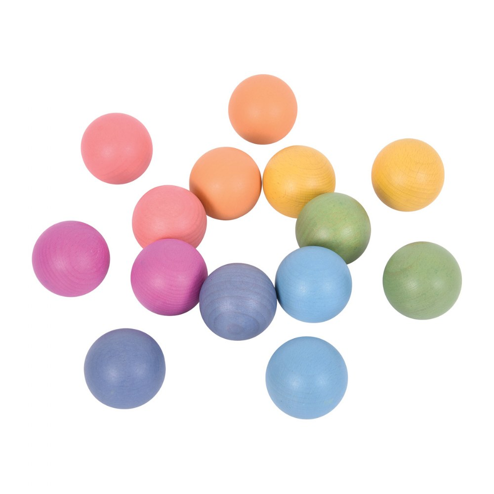 Rainbow Wood Loose Spheres - 14 Pieces