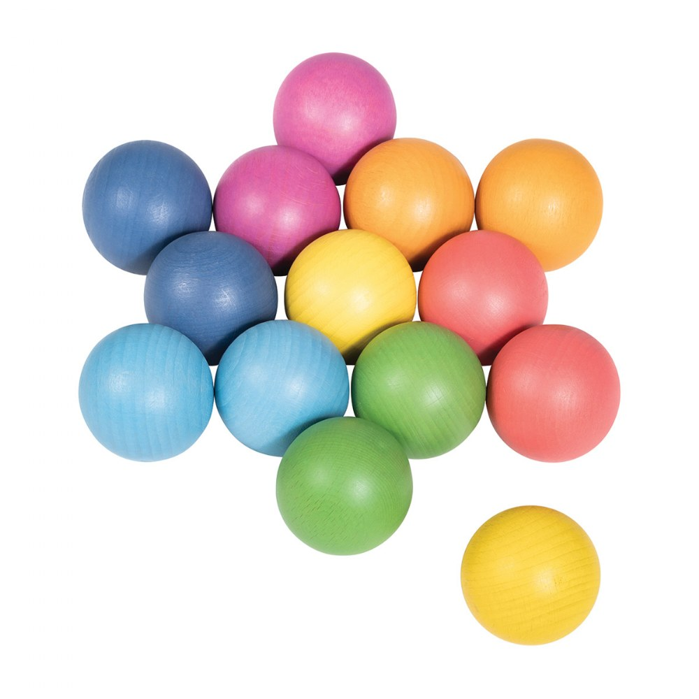 Alternate Image #2 of Rainbow Wood Loose Spheres - 14 Pieces