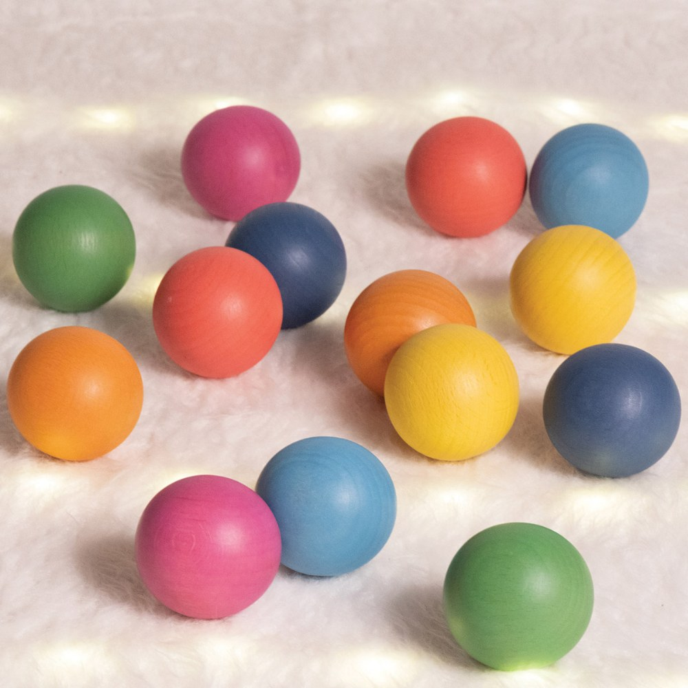 Alternate Image #4 of Rainbow Wood Loose Spheres - 14 Pieces