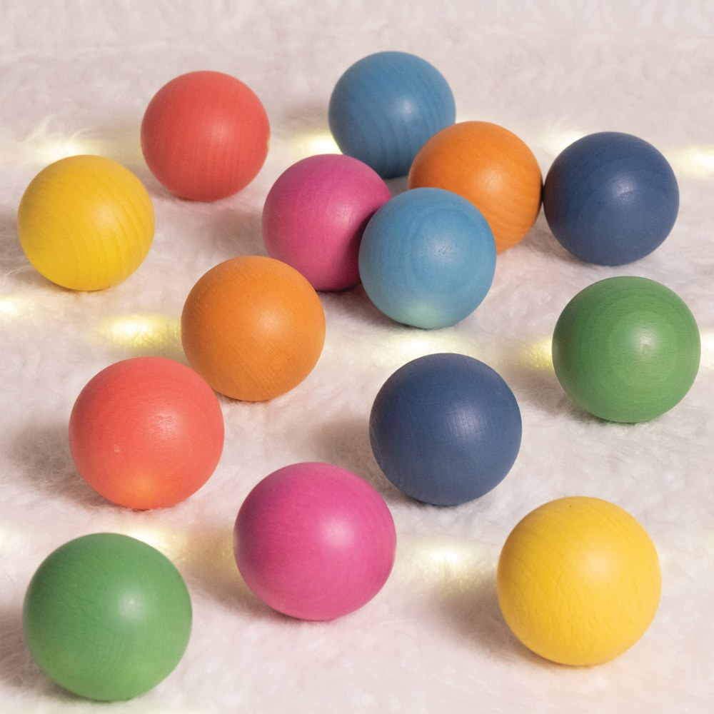 Alternate Image #5 of Rainbow Wood Loose Spheres - 14 Pieces