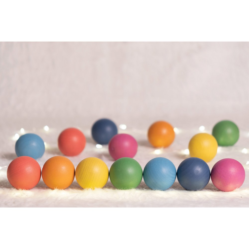 Alternate Image #7 of Rainbow Wood Loose Spheres - 14 Pieces