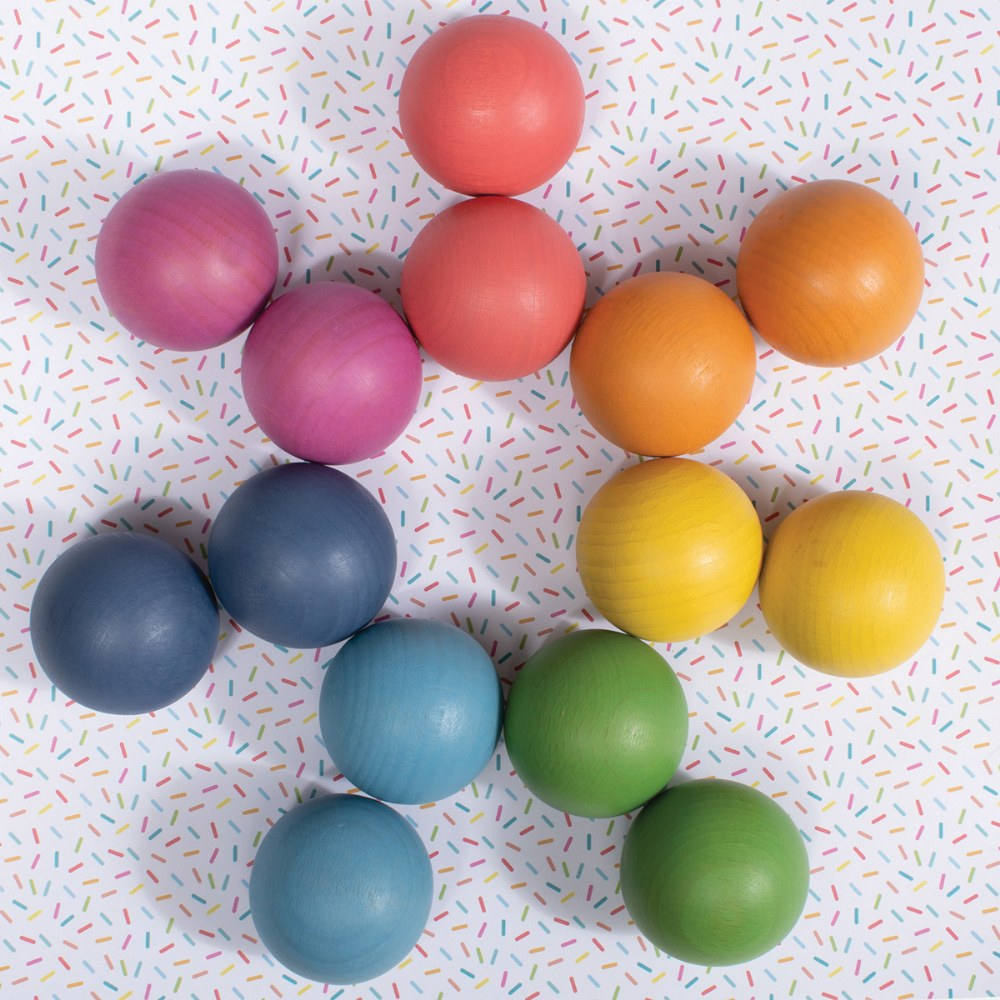 Alternate Image #8 of Rainbow Wood Loose Spheres - 14 Pieces