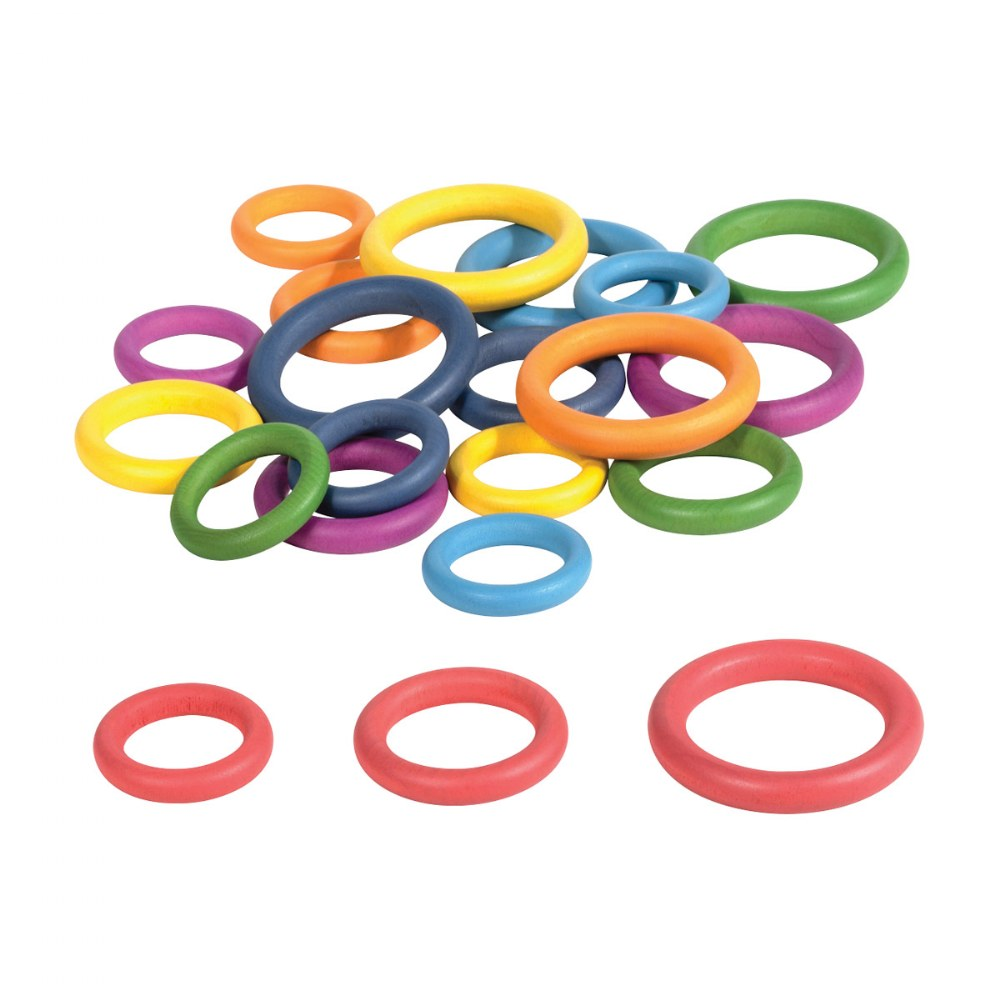 Alternate Image #4 of Rainbow Wood Loose Rings - 21 Pieces