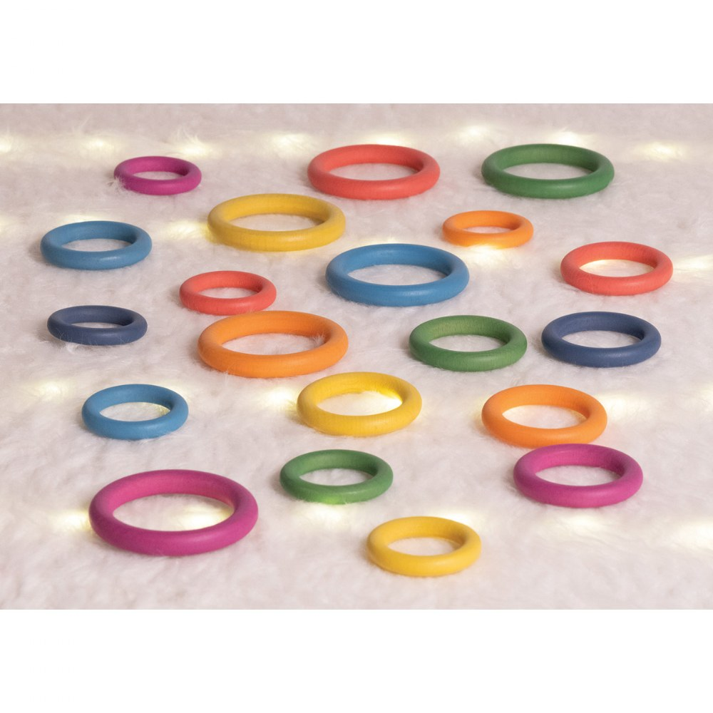 Alternate Image #10 of Rainbow Wood Loose Rings - 21 Pieces