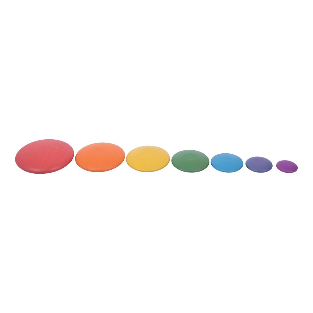 Rainbow Wood Stacking Buttons - 7 Pieces
