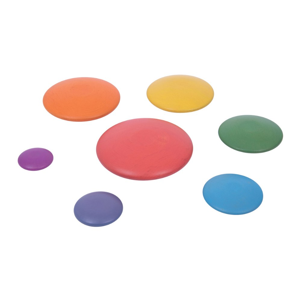 Alternate Image #1 of Rainbow Wood Stacking Buttons - 7 Pieces