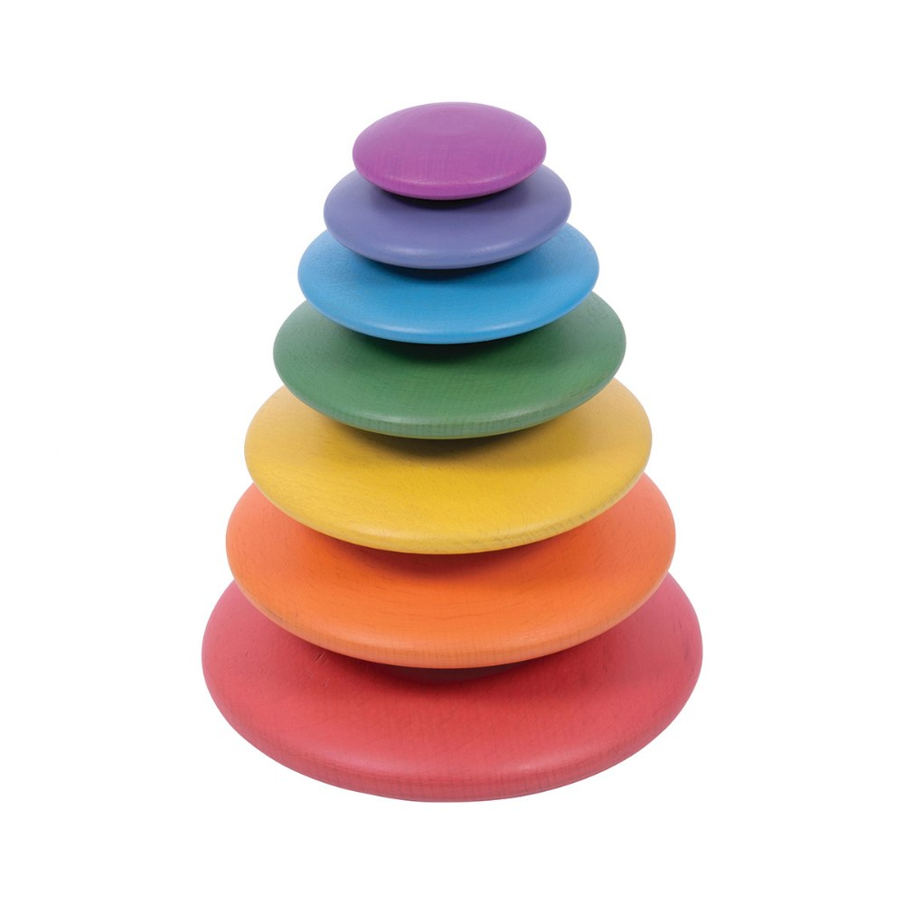 Alternate Image #2 of Rainbow Wood Stacking Buttons - 7 Pieces