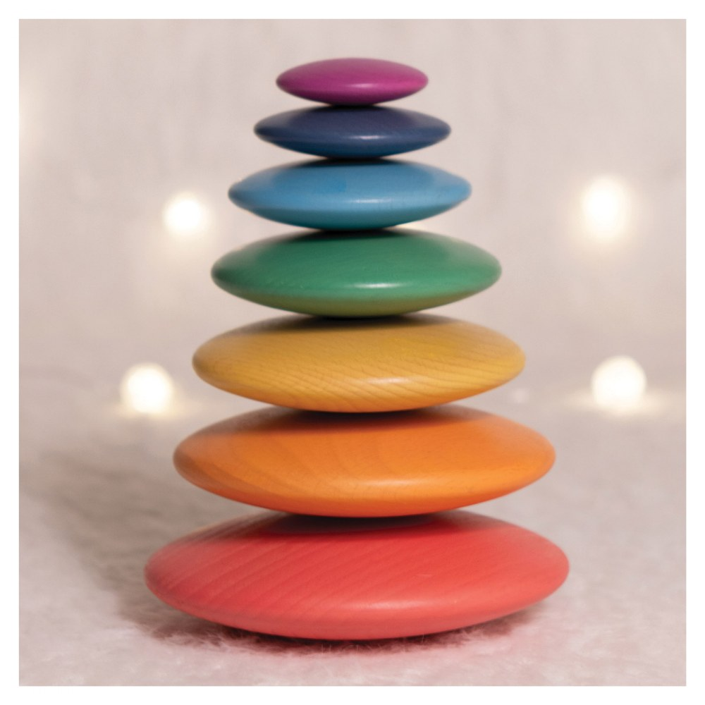 Alternate Image #6 of Rainbow Wood Stacking Buttons - 7 Pieces