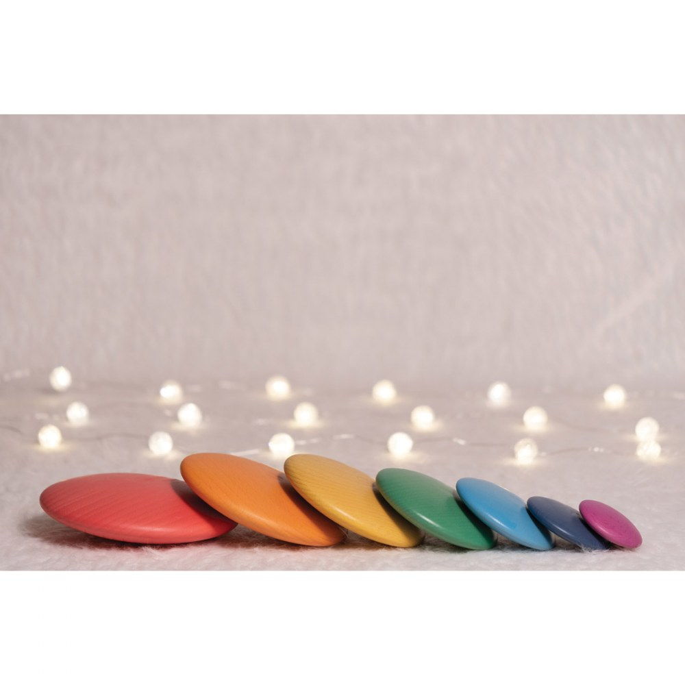 Alternate Image #7 of Rainbow Wood Stacking Buttons - 7 Pieces