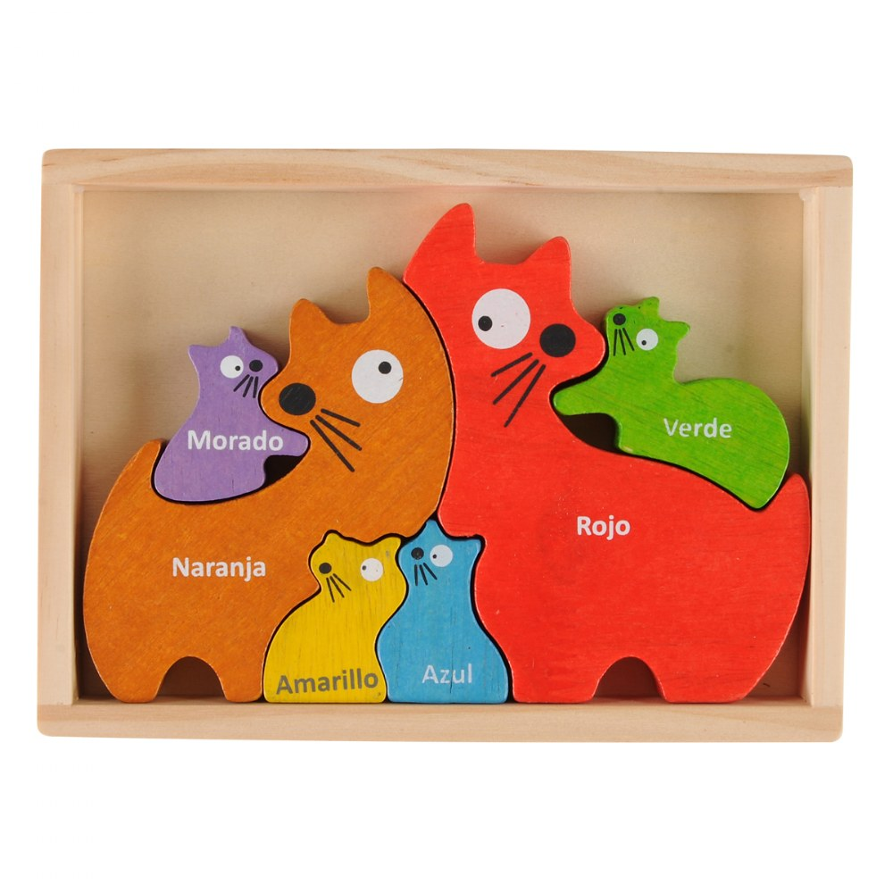 Alternate Image #1 of Cat Family Bilingual Puzzle - Eco-Friendly Wood