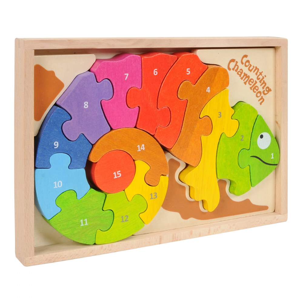 Counting Chameleon Bilingual Puzzle - Eco-Friendly Wood