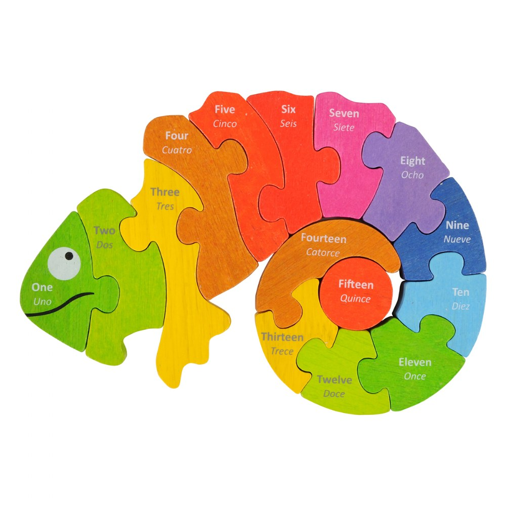 Alternate Image #1 of Counting Chameleon Bilingual Puzzle - Eco-Friendly Wood
