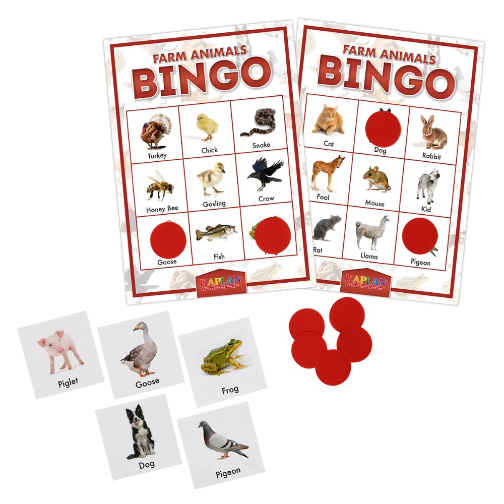 Kaplan Farm Animals Bingo Learning Game