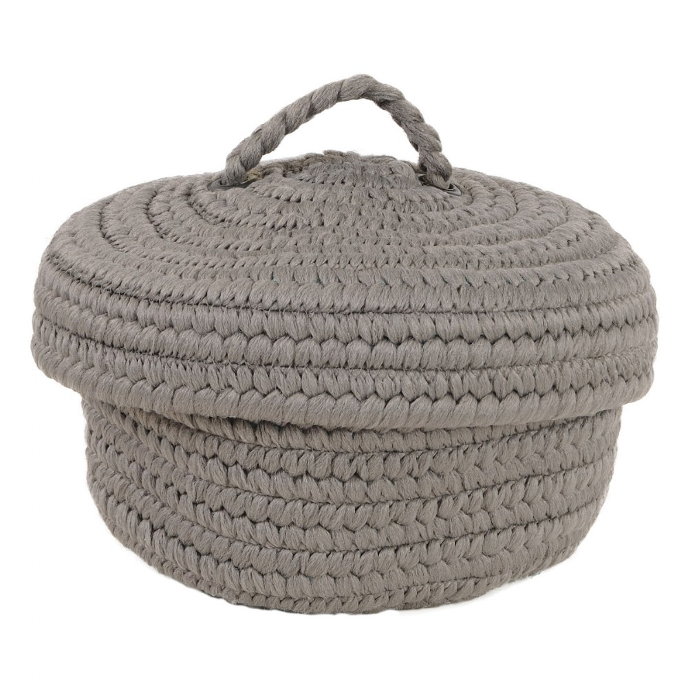Alternate Image #1 of Peek-A-Boo Basket and Lid - Grey