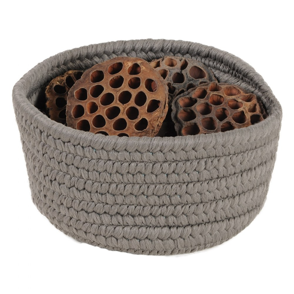 Alternate Image #3 of Peek-A-Boo Basket and Lid - Grey