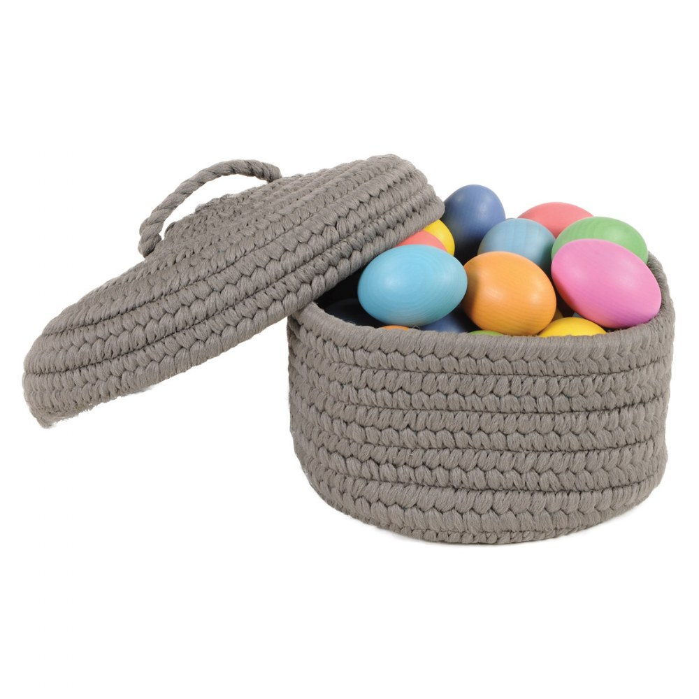 Alternate Image #4 of Peek-A-Boo Basket and Lid - Grey