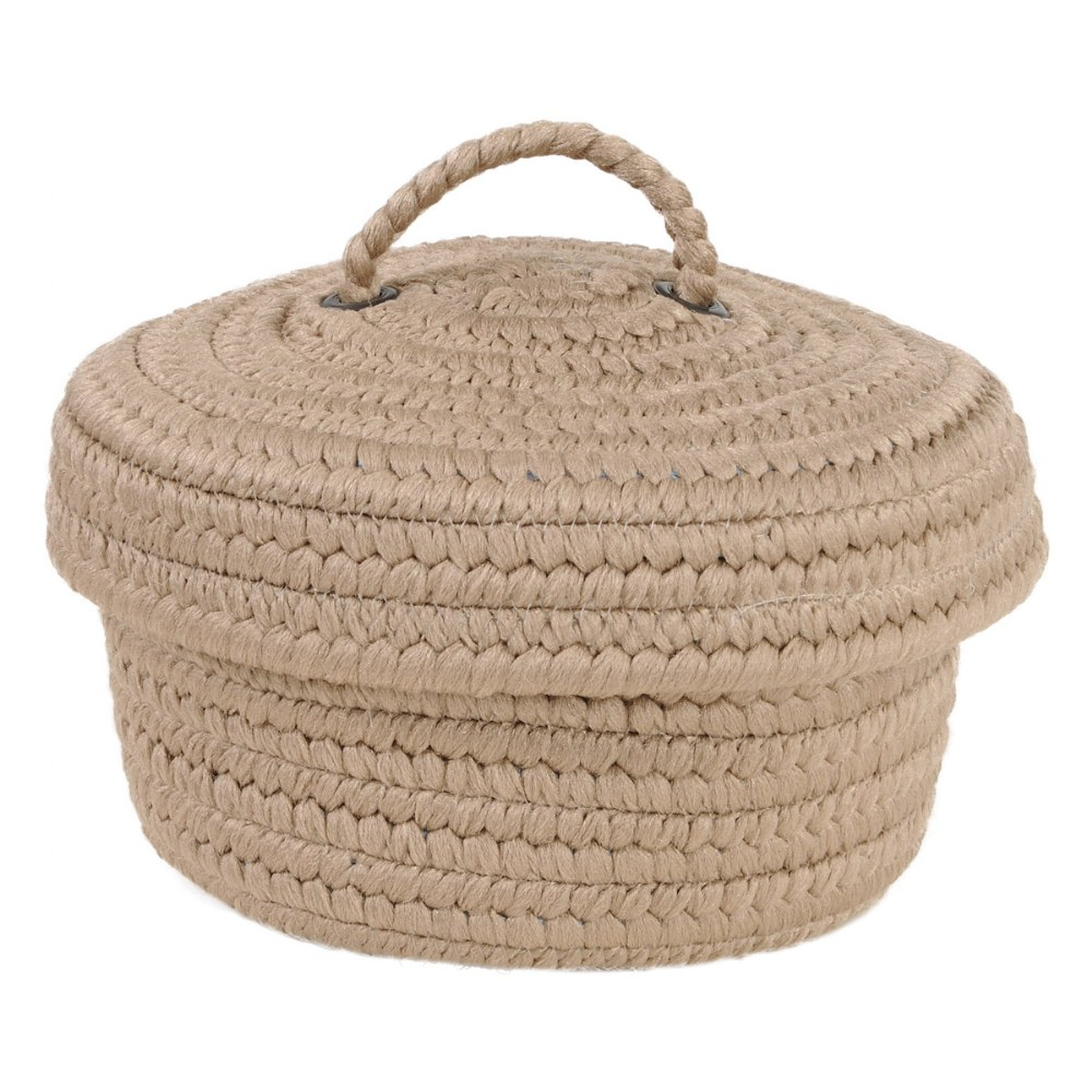 Alternate Image #1 of Peek-A-Boo Basket and Lid - Tan